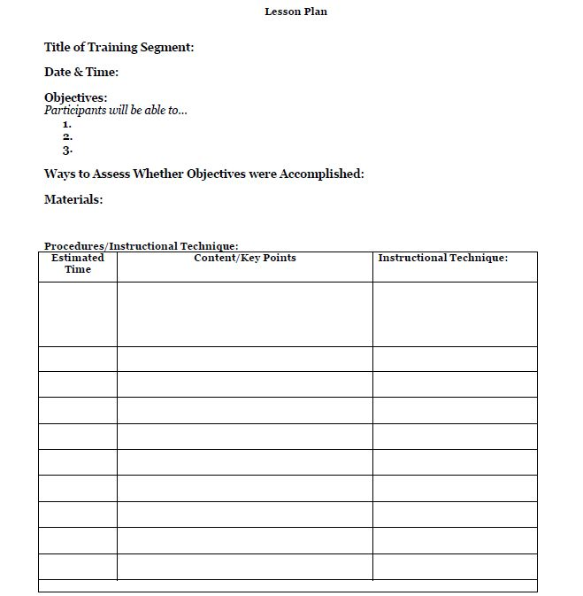 Template train like a champion for Outline of a lesson plan template