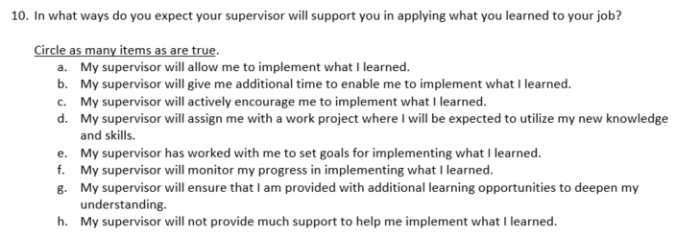 Eval Question - Supervisor Support